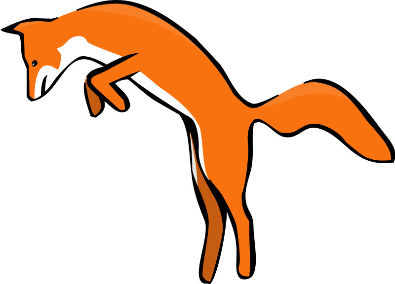 Free Clipart: Leaping Red Fox.