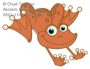A Cute Red Frog With Blue Eyes Clipart Illustration.