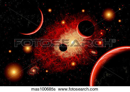 Stock Illustration of A red giant star system. mas100685s.