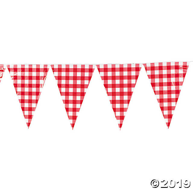 Large Red Gingham Vinyl Pennant Banner.