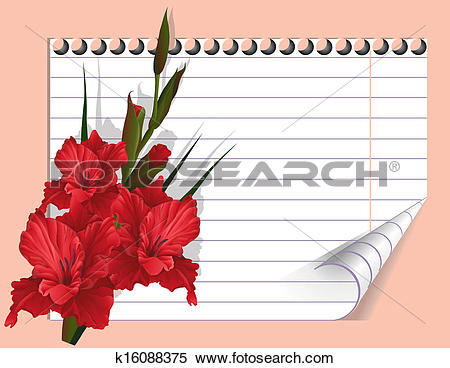 Stock Illustration of Red gladiolus and note k16088375.