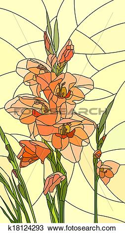 Clipart of Mosaic of flowers red gladiolus. k18124293.