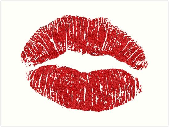 \'Red (Glitter) Lips\' Art Print by myheadisaprison.