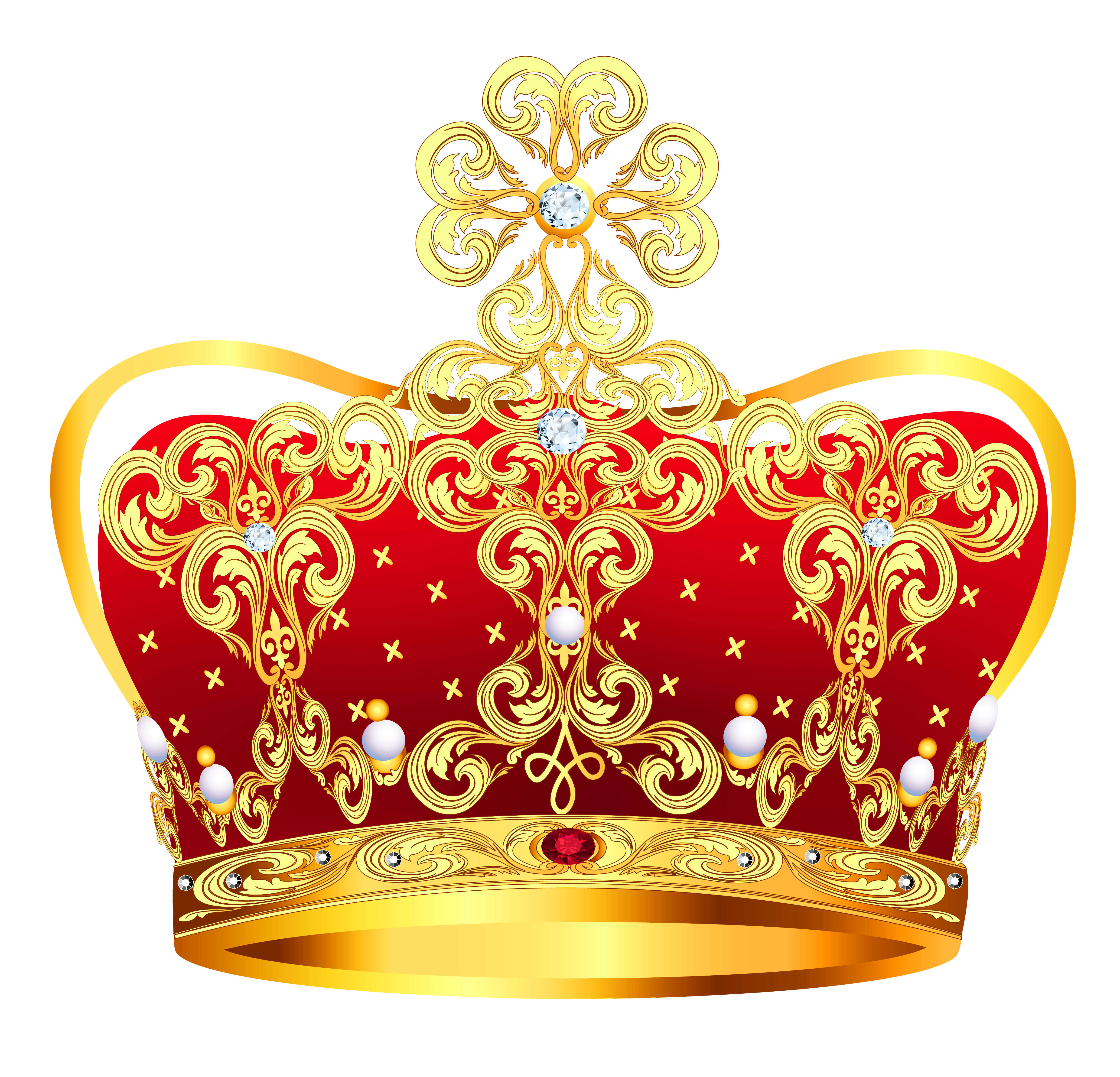 Gold and Red Crown with Pearls PNG Clipart Picture.