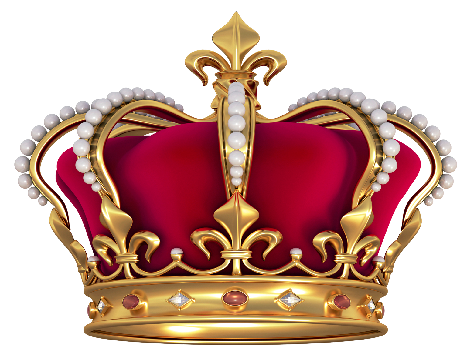 Red Gold Crown with Pearls PNG Clipart Picture.
