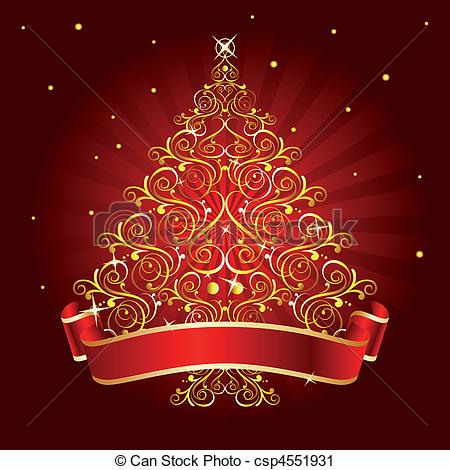 Vector Clip Art of christmas tree red.