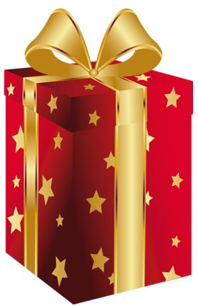 Red Present with Gold Bow Clipart.