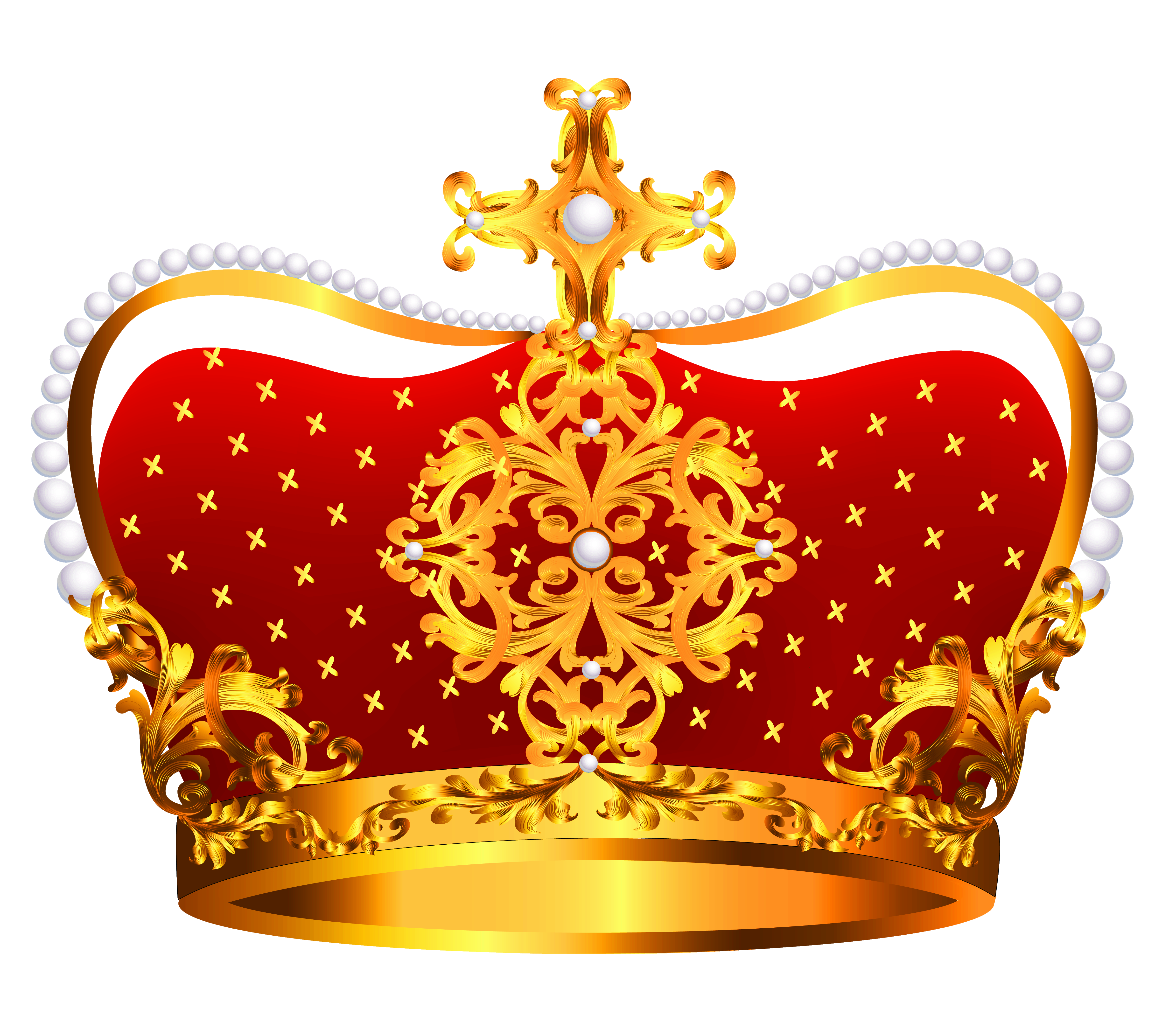 Gold and Red Crown with Pearls PNG Clipart.