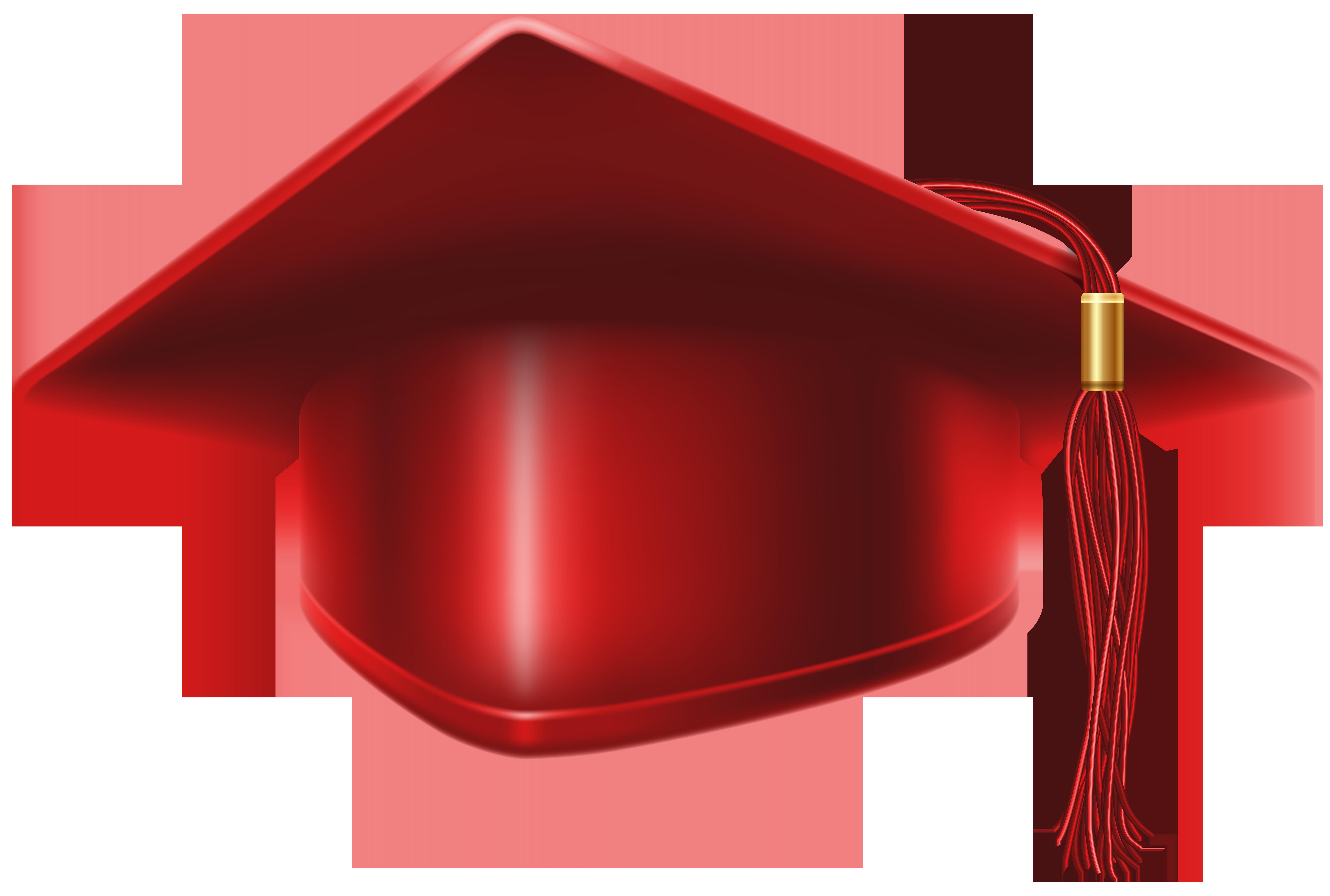 Red Graduation Cap PNG Clip Art Image.