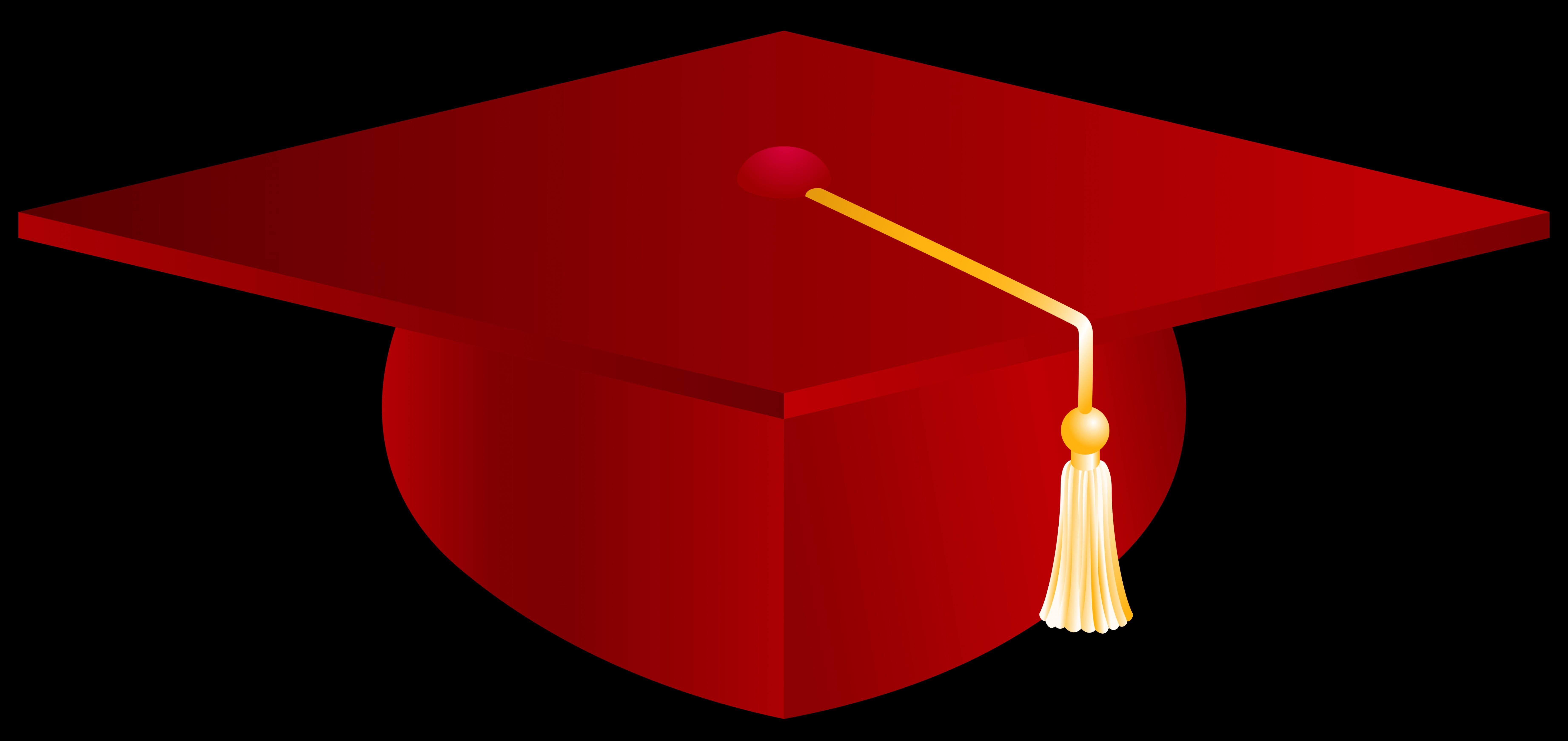 Red Graduation Cap Png Vector Clipart Image.