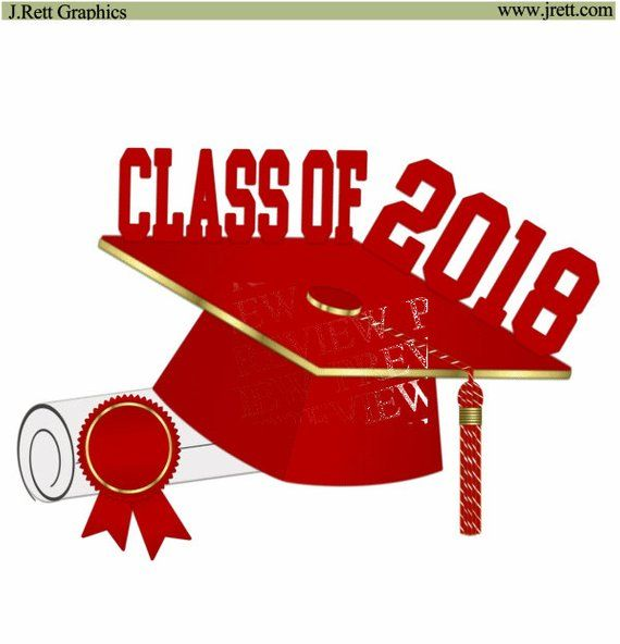 Class of 2018 clip art, MORE COLORS, red, gold graduation.
