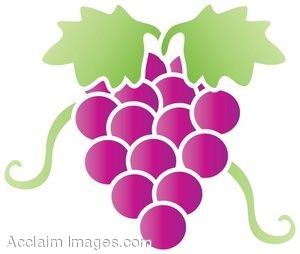 Clip Art of Red Grapes Design.
