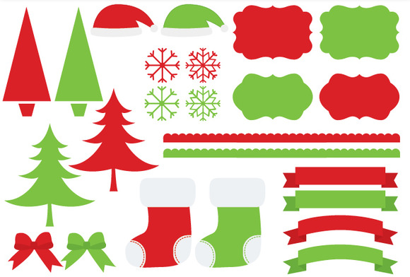 Red green christmas real clipart.