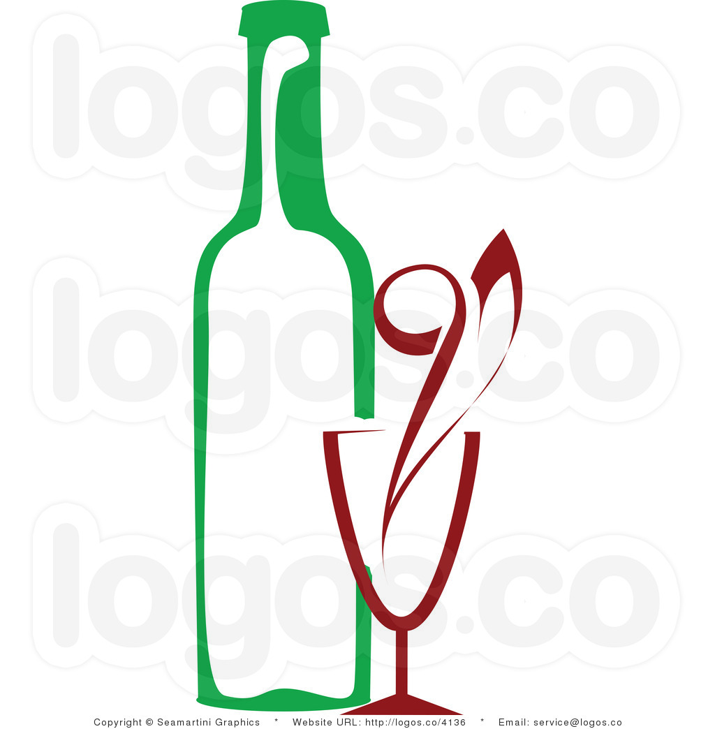 Green and red wine bottle and glass clipart.