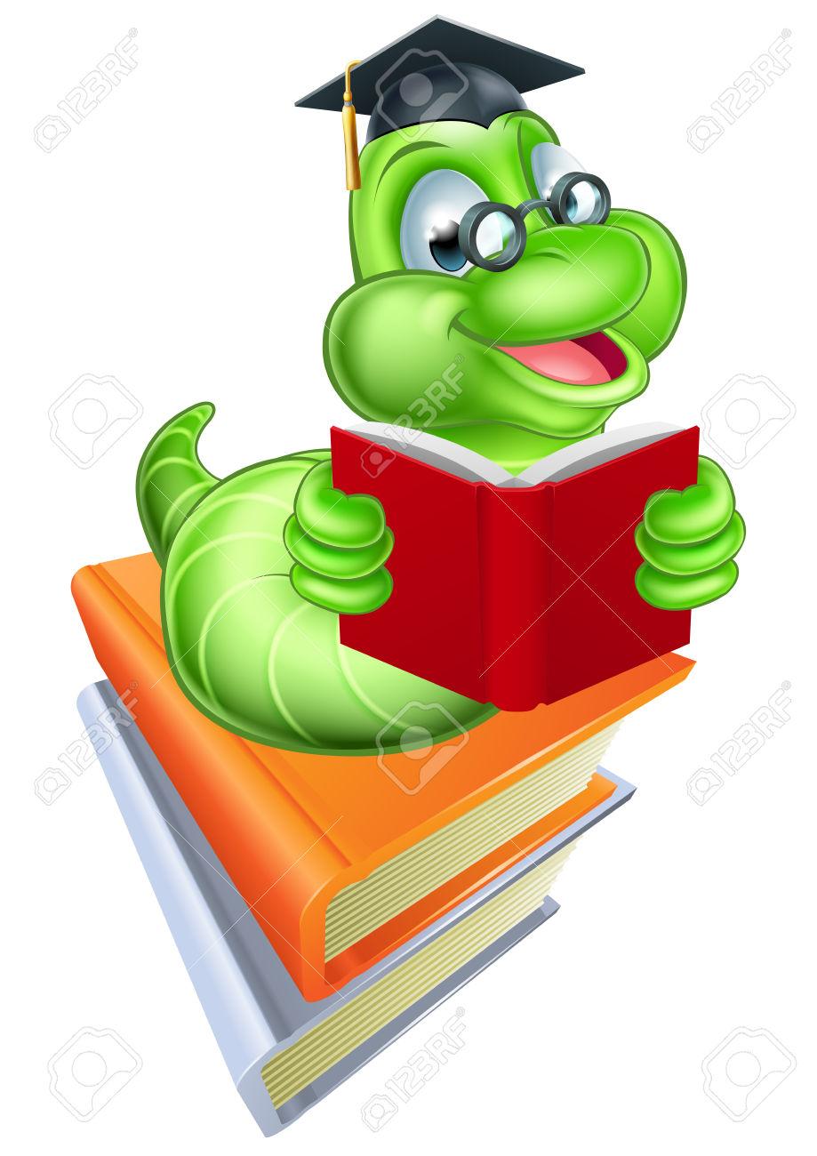 Green Cartoon Caterpillar Worm Bookworm Wearing Glasses And Mortar.