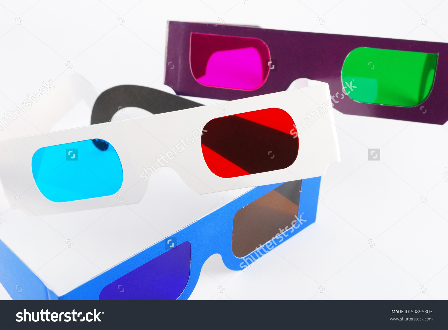 Blue Amber, Red Cyan And Green Magenta 3d Anaglyph Glasses.