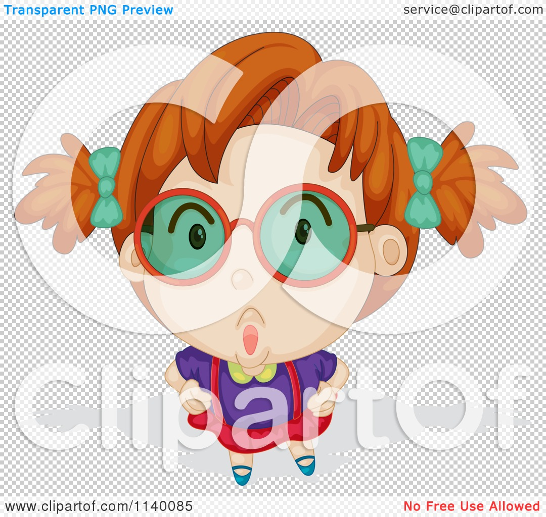 Cartoon Of A Red Haired Girl Looking Up Through Green Glasses.