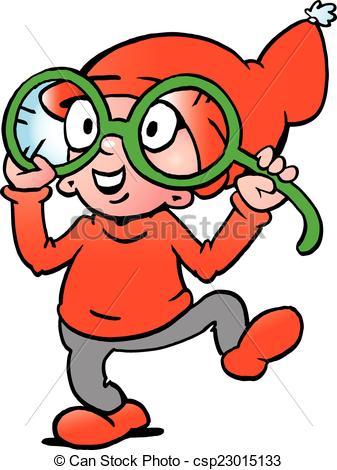 Vectors of A Happy Elf with big green glasses.