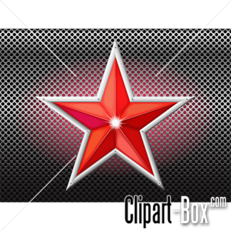 CLIPART RED STAR METAL GRID.