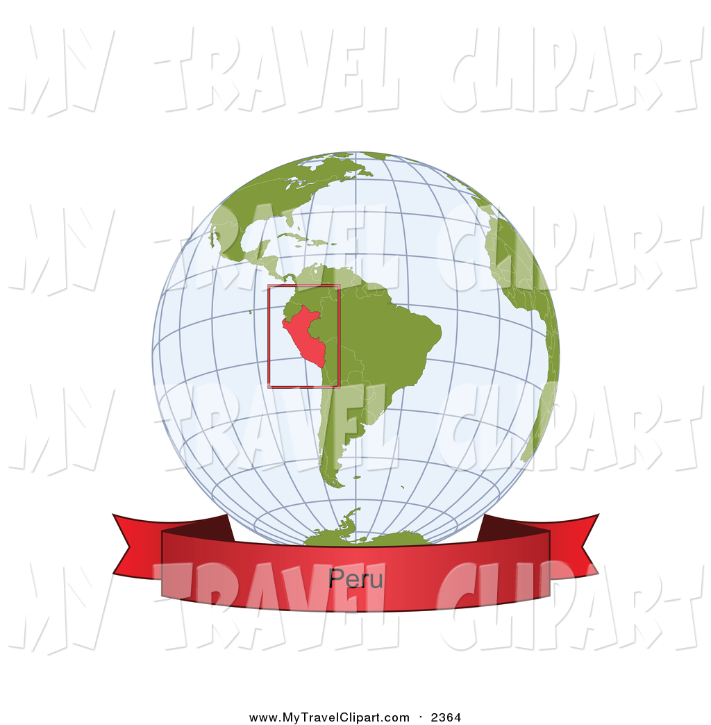 Clipart of a Grid Globe with a Red Peru Banner by Michael.