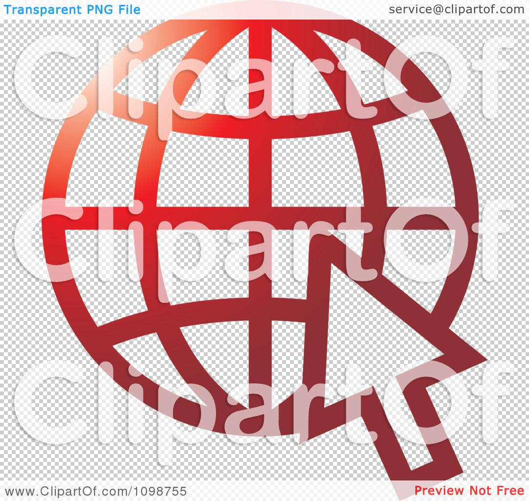 Clipart Red Grid Internet Globe And Computer Cursor.