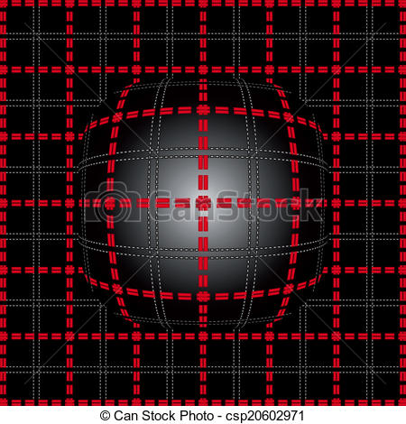Vectors Illustration of Red grid lighting convex background.
