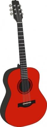 Red Guitar clip art Free Vector.
