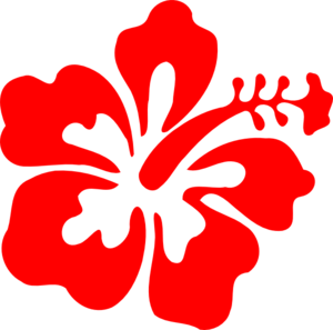 Red hibiscus flower clipart.