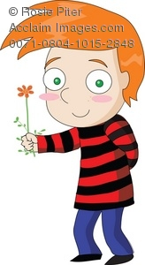 Cartoon Character Clipart Illustration of a Red Haired Boy.