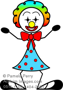 Clip Art Image of a Stick Figure Girl Clown With Rainbow Hair.