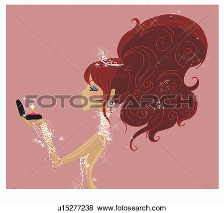 Stock Illustration of Woman adorned with jewelry holding ring in.