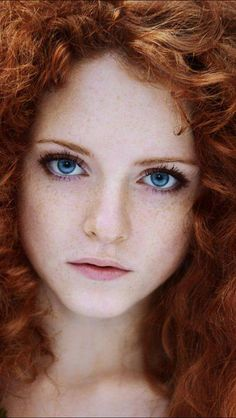 Red Curly Hair Blue Eyes.
