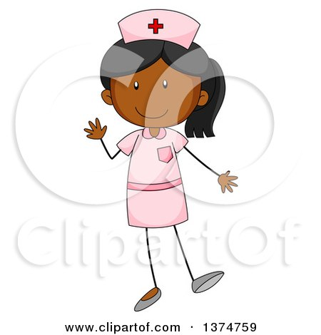 Clipart of a Red Haired White Female Nurse with Long Hair.