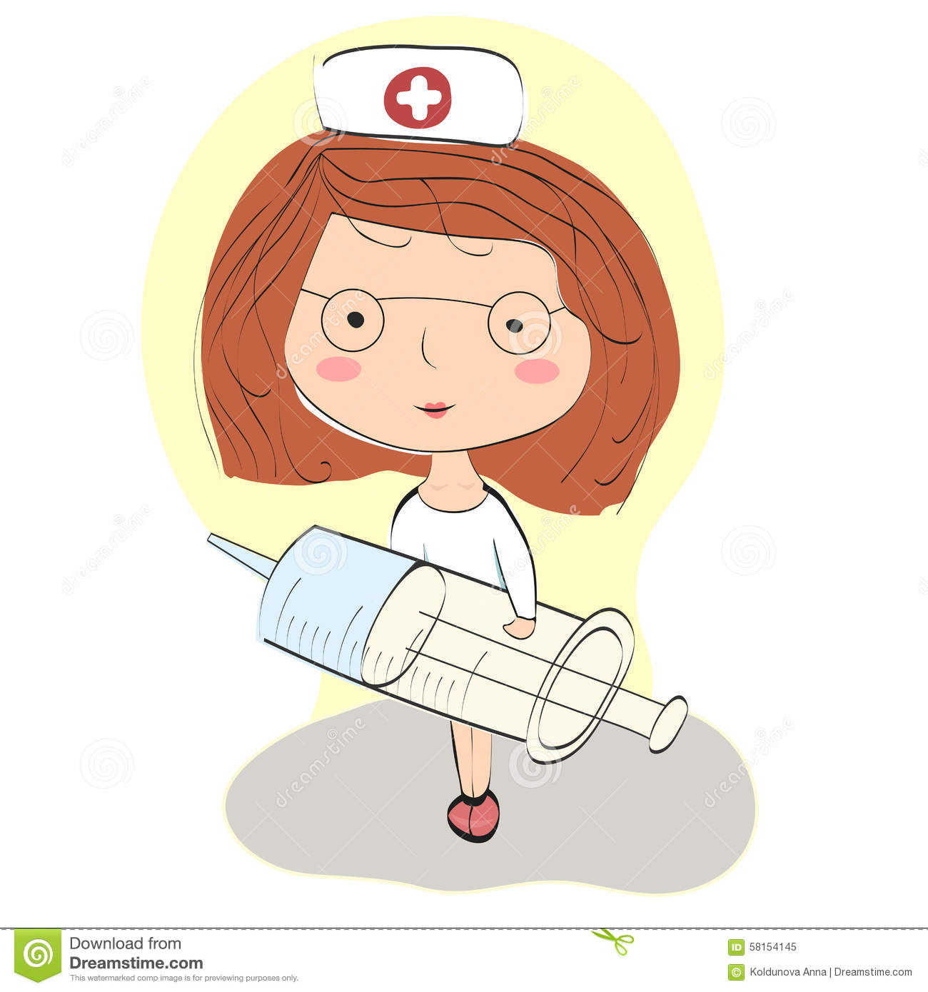 Young Nurse Holding A Syringe To Make An Injection Stock Vector.