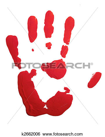 Stock Photography of Bloody red hand print isolated on white.