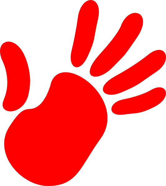 Red Hand Print Clip Art.