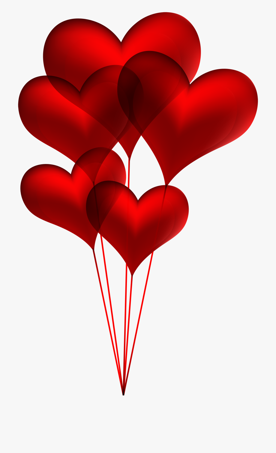 Red Heart Balloons Transparent Png Clip Art Image.