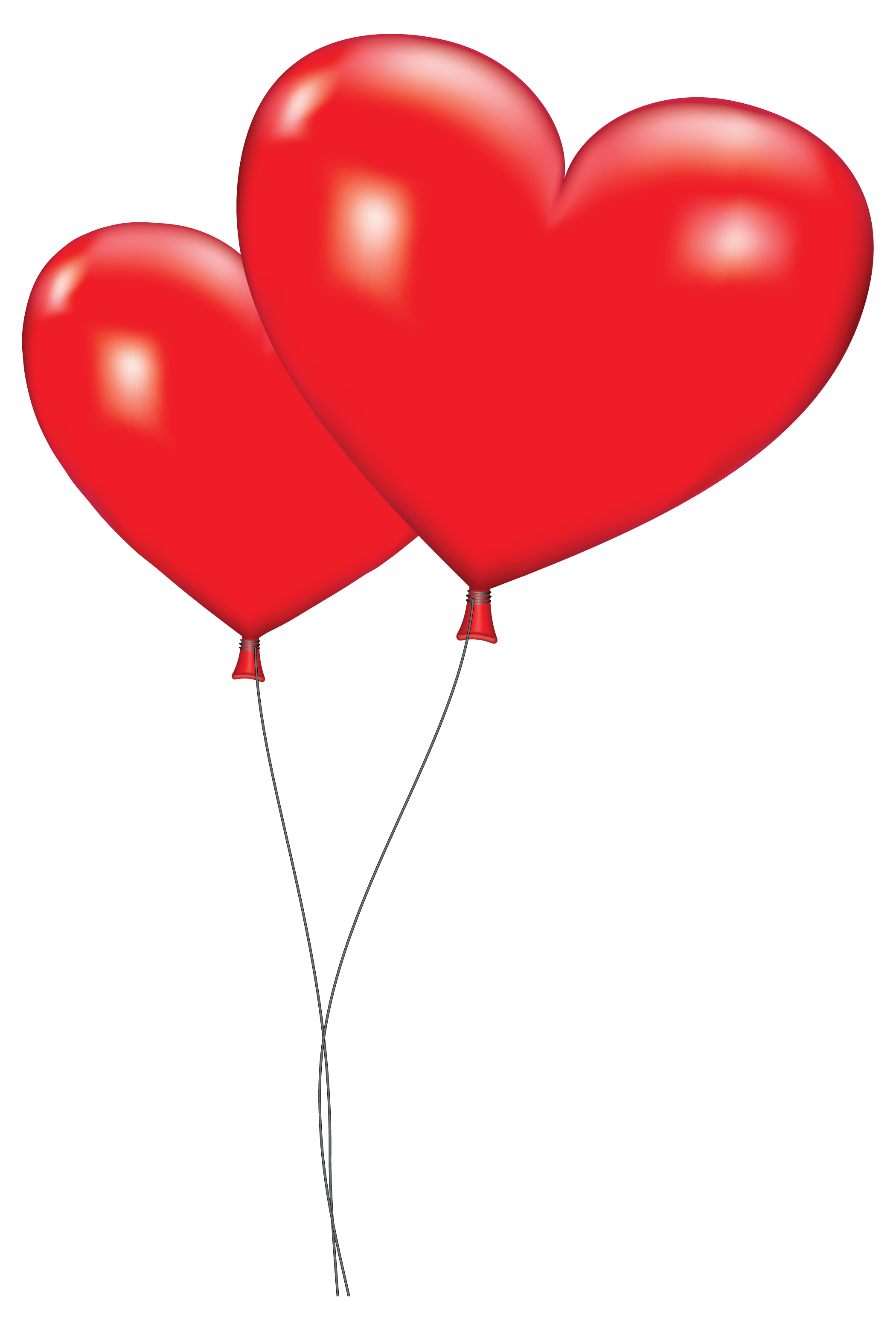 Large Red Heart Balloons PNG Clipart Picture.