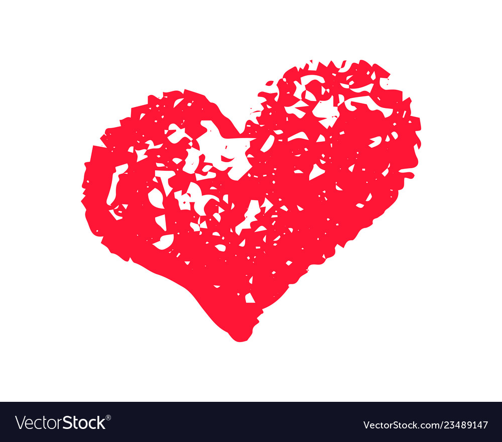 Textured red heart chalk clipart icon.
