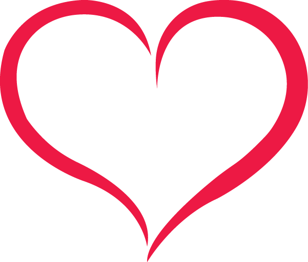 Red Outline Heart PNG Image.