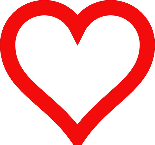 Red Heart Outline Clip Art N15 free image.