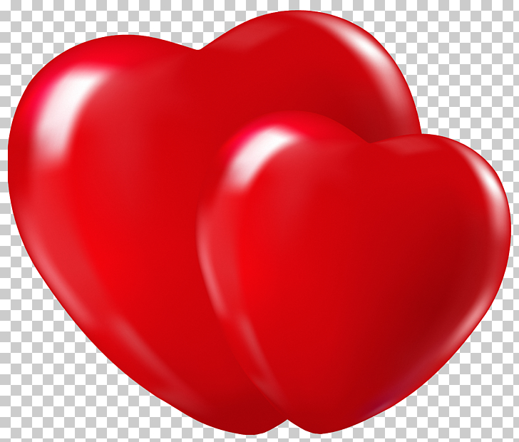 Double Hearts , two red hearts illustration PNG clipart.