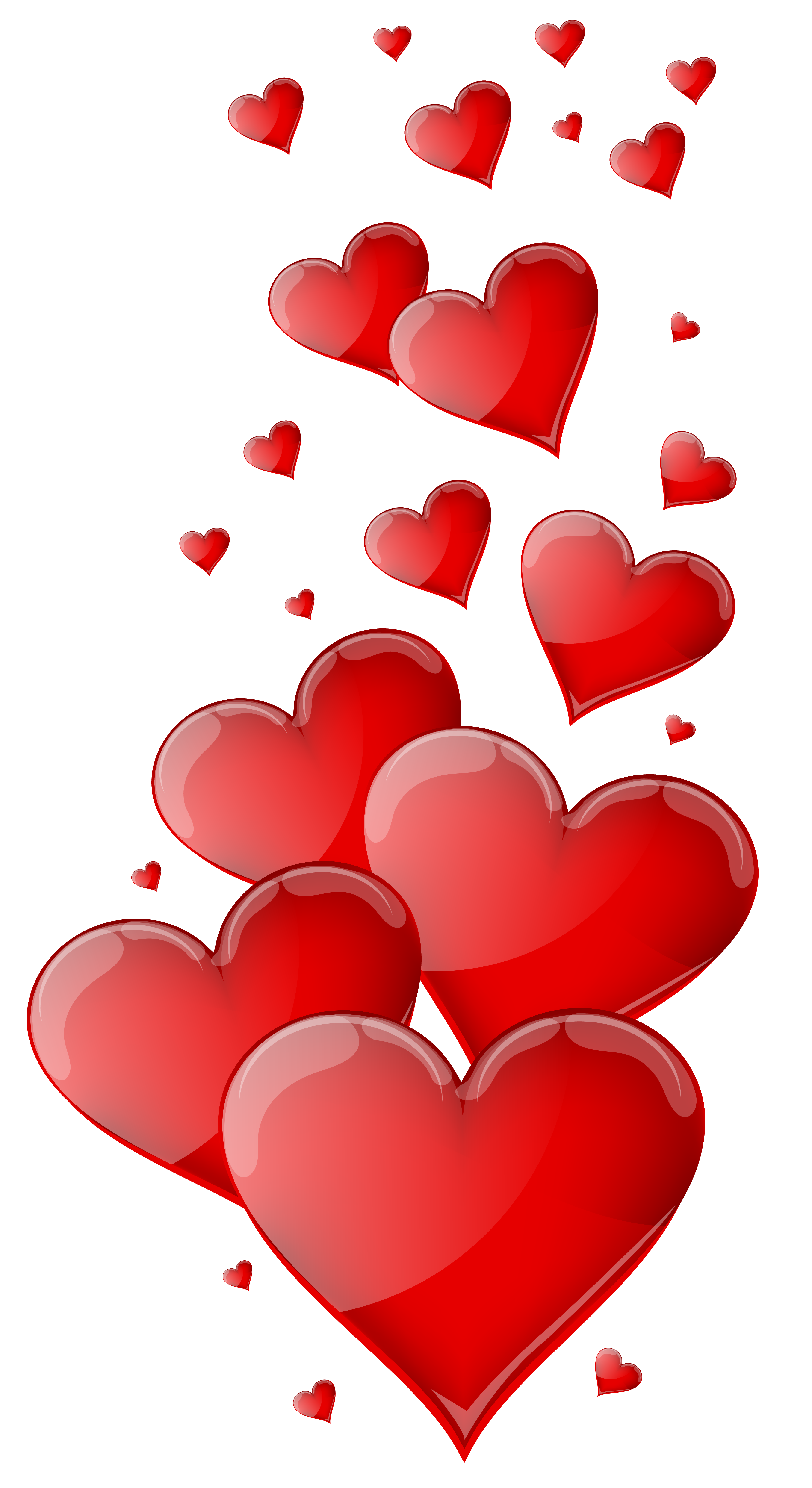 Red Hearts PNG Clipart Image.
