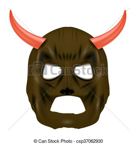 Vectors of Red Horn Mask on White Background.