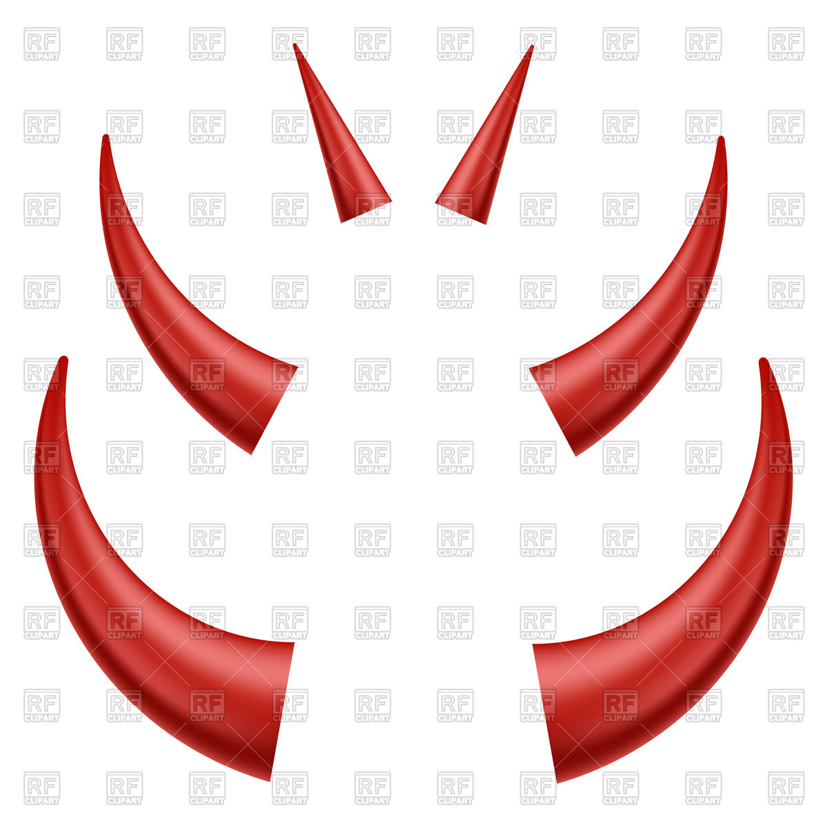 Set of red horns Vector Image #84792.