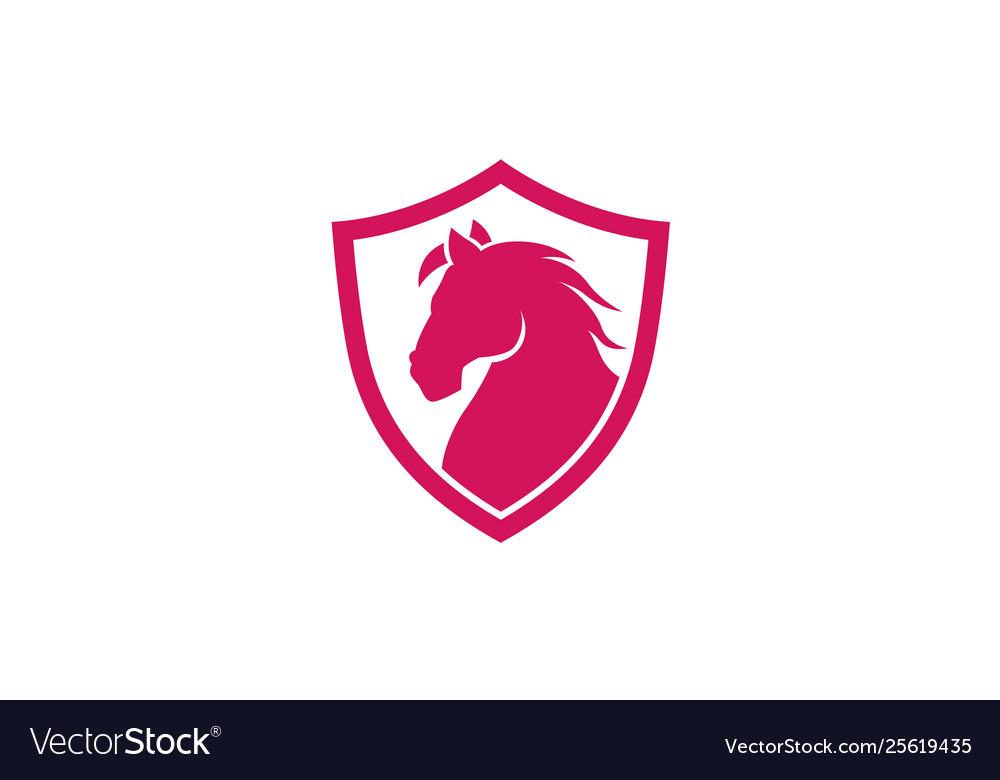 Creative red horse shield logo design symbol.