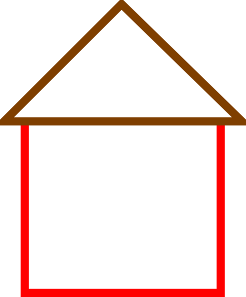 Red House Outline Clipart.