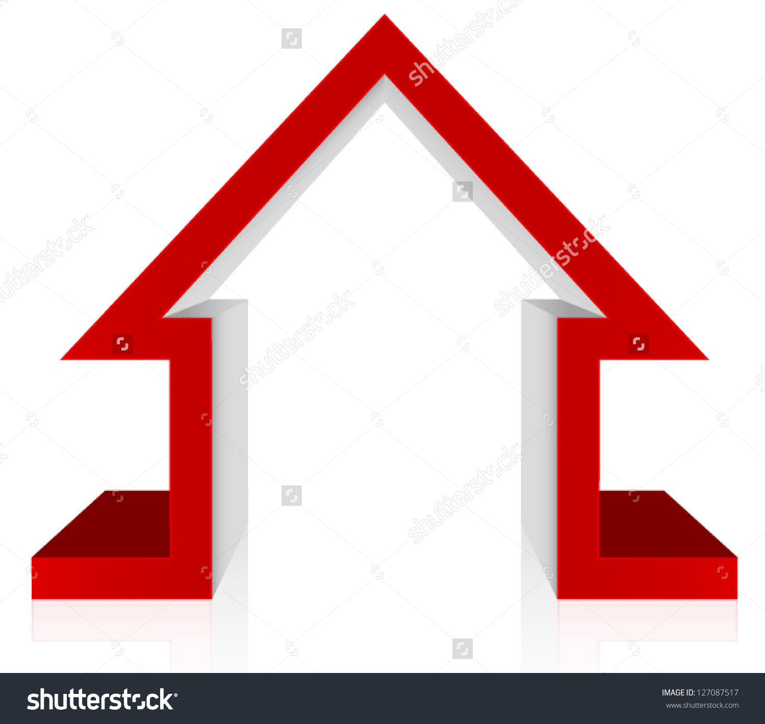 Red House 3d Vector Home Security Stock Vector 127087517.