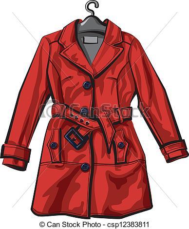 Vector Clip Art of red rain coat csp12383811.