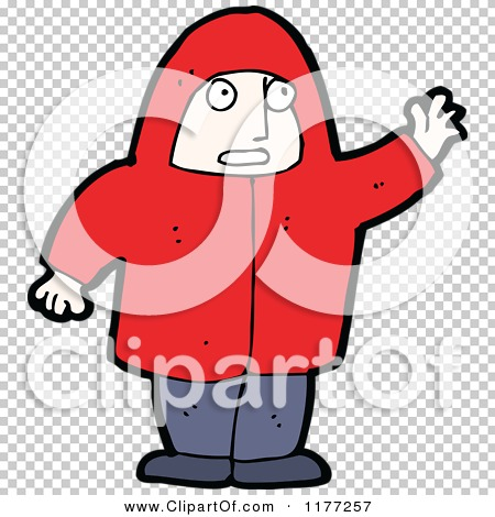 Cartoon Of A Man in a Red Jacket, Waving.